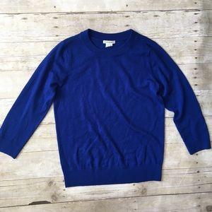 CLUB MONACO Royal Blue 3/4 Slvs Soft Wool Sweater
